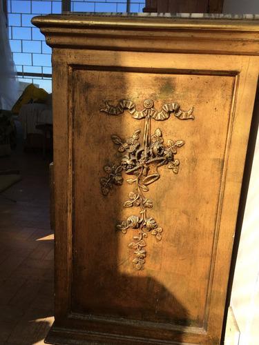 cómoda antigua en madera estilo luis xvi con tapa de mármol