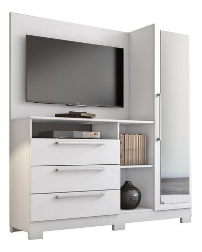 cómoda armario panel, 3 cajones , puerta con espejo