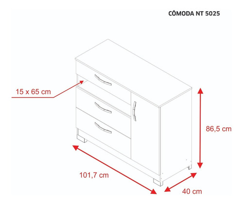 comoda cajonera 3 caj 1 puerta correderas metálicas *nt5025*