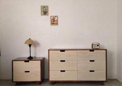 cómoda cajonera de madera con burós, garcía-ponce