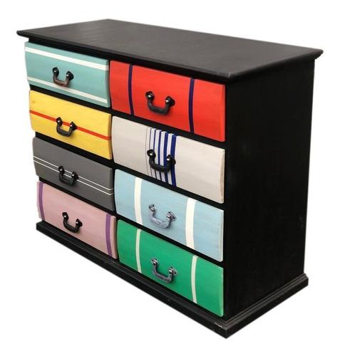cómoda cajonera mueble pino armado colores vintage