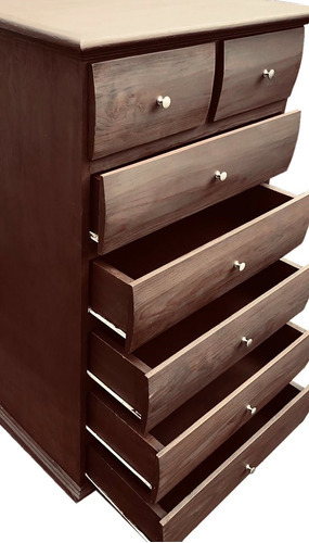 cómoda cajonera mueble pino madera maciza con rieles 7 cajon