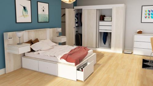 comoda cajonera para dormitorio 3 cajones correderas metalicas texturada - 3003