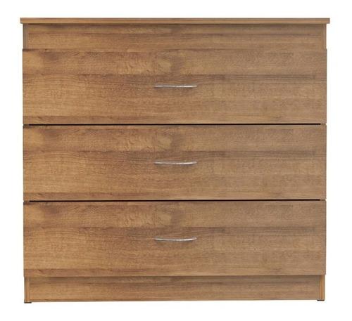 cómoda con 3 cajones en madera manijas metalicas moderno
