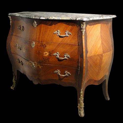 cómoda francesa madera caoba rubia tapa marmol bronces