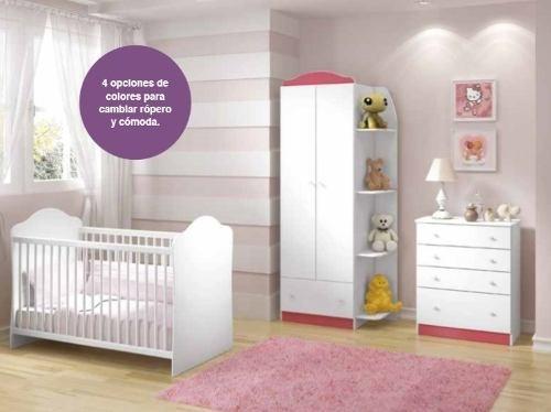 comoda modelo confete - blanco y rosa këssa muebles