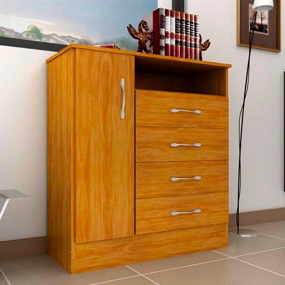 Comoda Ricchezze Ecopack 1 Puerta 4 Cajones Color Roble 1 599  # Muebles Ricchezze