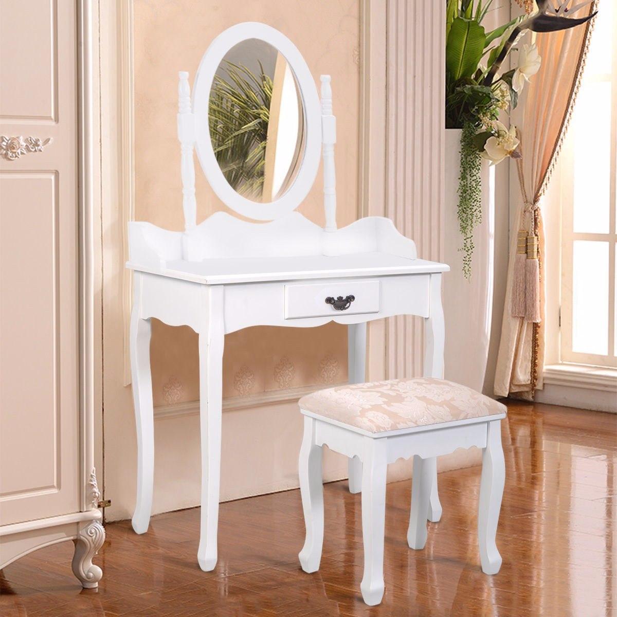 Hermosa Tocador Blanco Con Muebles De Heces Festooning - Muebles ...