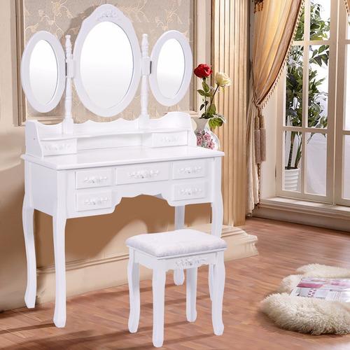 comoda tocador de maquillaje espejo plegable blanco