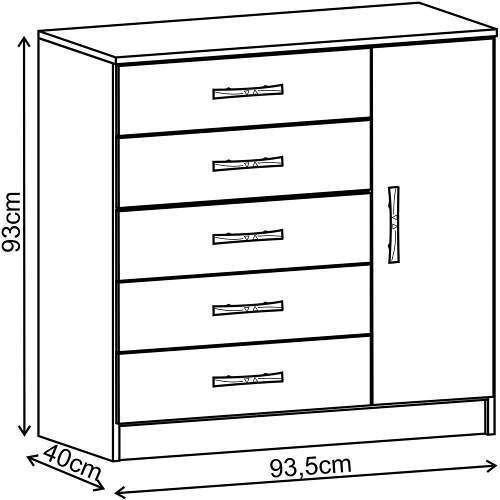 comodas cajoneras 5 puerta 1 cajon dormitorio tabaco 158