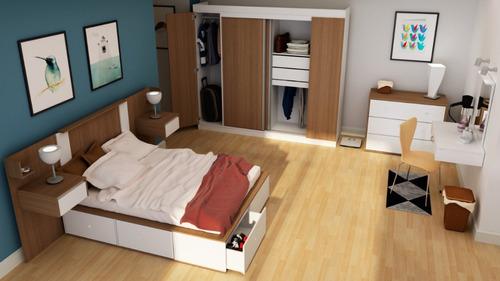 comodas cajoneras dormitorio blanca correderas 3 cajones +