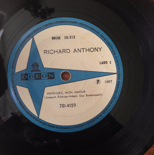 compacto - richard anthony - aranjues, mon amour. ano 1967