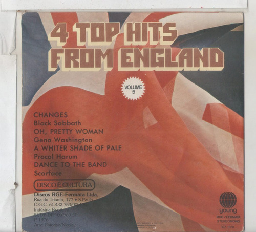 compacto vinil 4 top hits from england  volume 5 - 1976 - yo