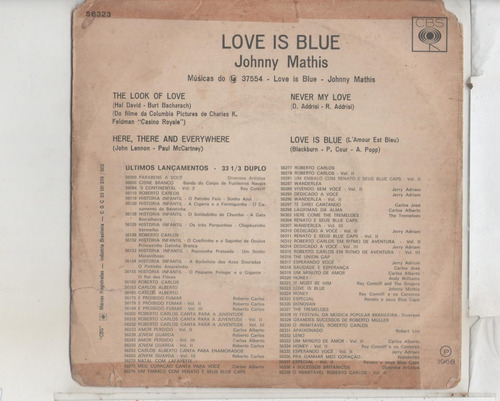 compacto vinil johnny mathis - love is blue - 1968 - cbs