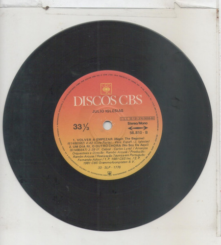 compacto vinil julio iglesias - manuela - discos cbs