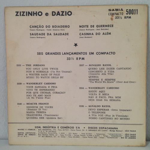 compacto zizinho e dazio (canção de boiadeiro) (hbs)
