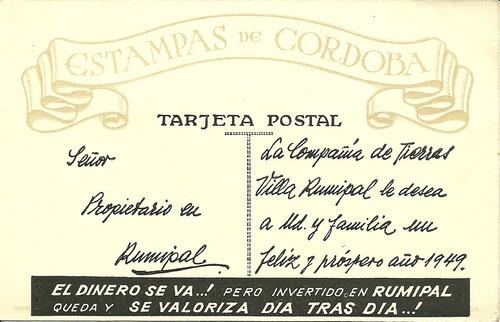 compañia de tierras 1949 cordoba antigua tarjeta postal rara