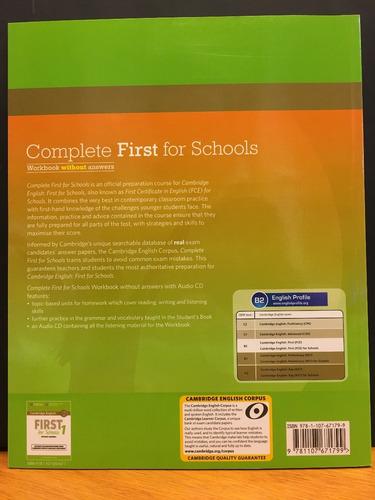 complete first for schools - workbook no key cambridge