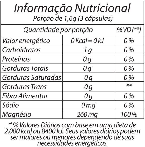 Resultado de imagem para cloreto de magnésio 60 Caps natural gold informação nutricional