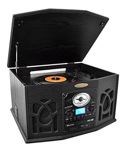 componente con tornamesa cd cassette y radio pyle negro