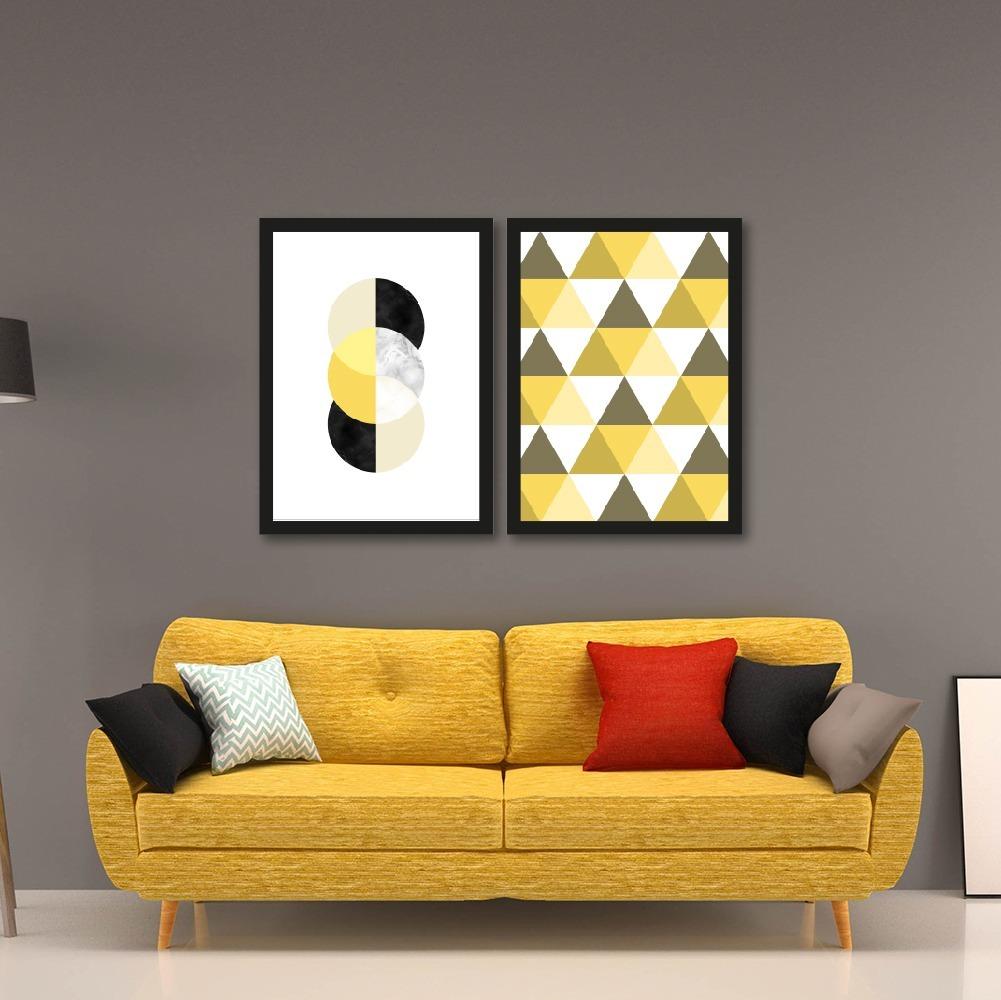 aa3bc716c composição 2 quadros + moldura geométrico moderno amarelo. Carregando zoom.