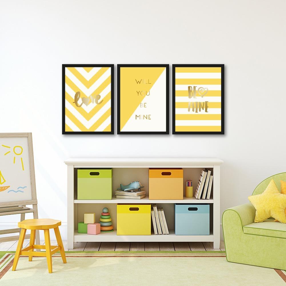 012c052e6 composição 3 quadros + moldura moderno amarelo frases love. Carregando zoom.