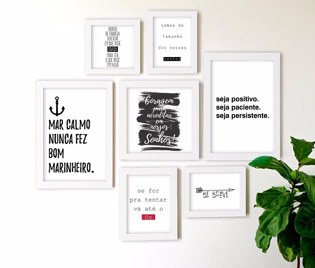 Composição Kit 7 Quadros Decorativos Frases Motivacionais R 283