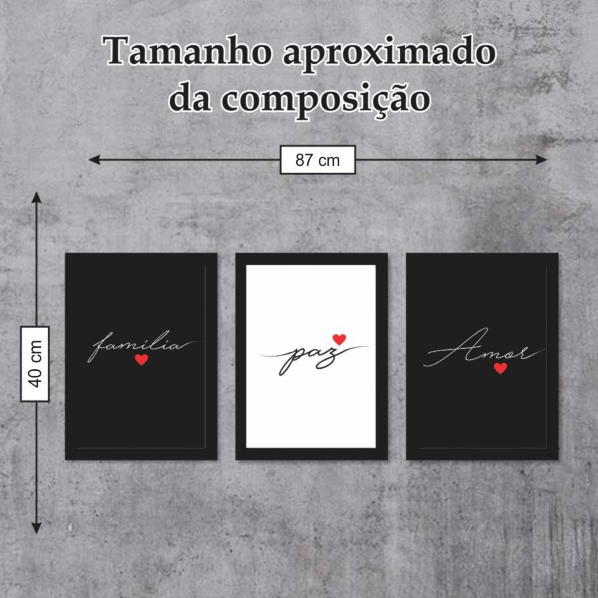 Composicao Quadro C Moldura Paz Amor Familia Frases Kit 3 R 100