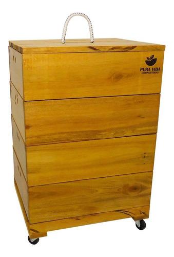 compostera de madera 5-6 personas 4 módulos 85 l pura vida