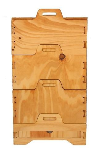 compostera doméstica de madera 5/6 personas tekó 3 modulos