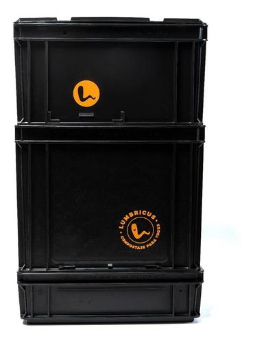 compostera domiciliaria negra 50 l con lombrices lumbricus