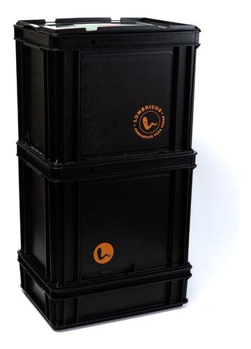 compostera domiciliaria negra 60 l con lombrices lumbricus
