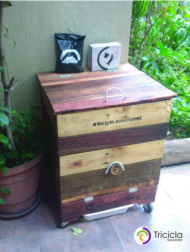 compostera madera tricicla 120 l patio/balcón redcompostaje