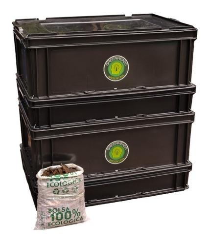 compostera urbana 80 litros greenheads + manual + lombrices
