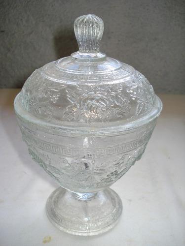 compoteira antiga grega com floral vidrão