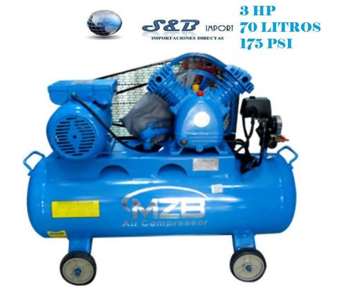 compresor  3hp / 70 litros acción por banda marca mzb