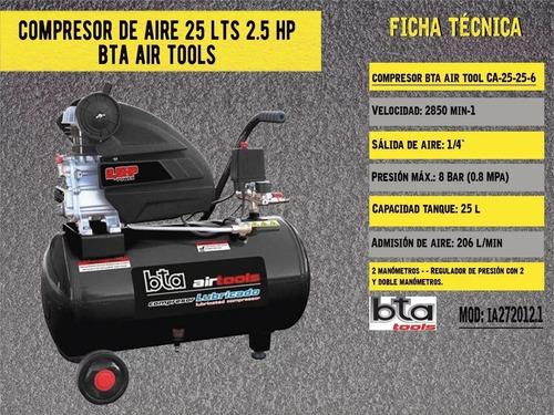 compresor de aire 2,5 hp 25l bta envio gratis + camiseta envio gratis