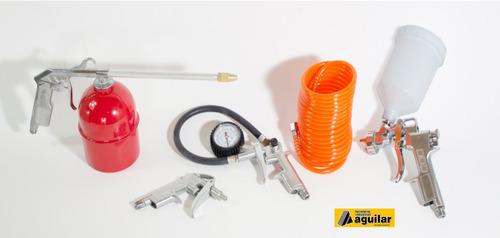 compresor de aire 25 lts 2hp portátil dual + kit 5 piezas
