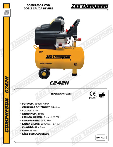 compresor de aire 2hp, 24 lts zea thompson