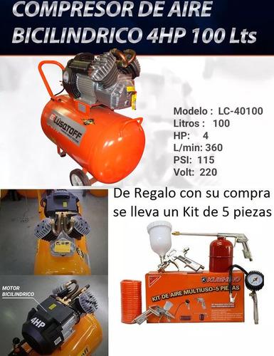 compresor de aire 4hp 100 l bicilindrico lusqtoff +kit 5pzs