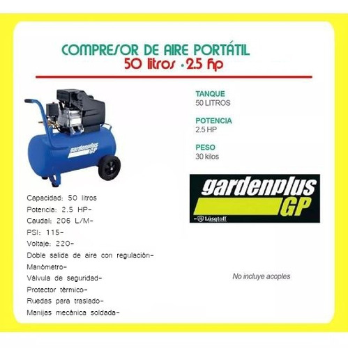 compresor de aire 50 litros 2.5 hp portatil garden plus