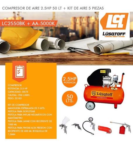 compresor de aire 50 litros 2.5hp + kit 5 lc2550 lusqtoff