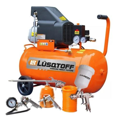 compresor de aire 50 lts + kit 5 piezas lusqtoff lc-2550bk