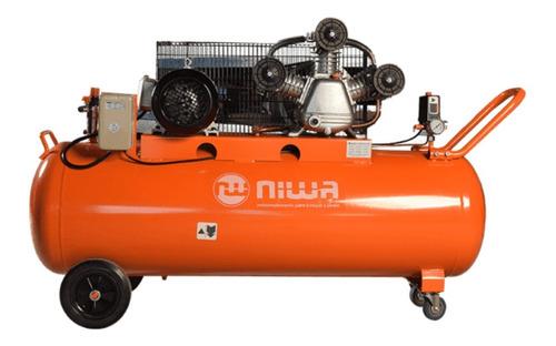 compresor de aire a correa niwa 4hp trif 200 lts 3 cilindros