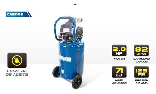 compresor de aire elite libre de aceite. portencia 2hp. 82l