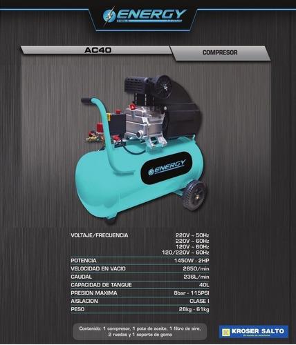 compresor de aire energy ac40k-220-50 ,40l,kit de accesorios