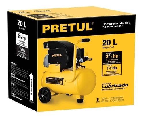compresor de aire lubricado 20 litros 2 1/2 hp 1.875w pretul