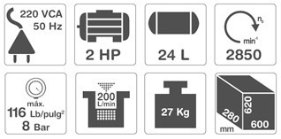 compresor de aire portatil 24 lt motor 2 hp gamma 220v g2801