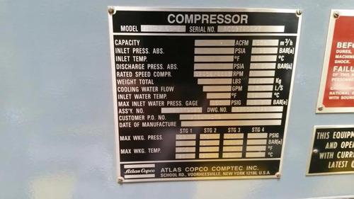 compresor estacionario 4500 cfm atlas copco 700 hp