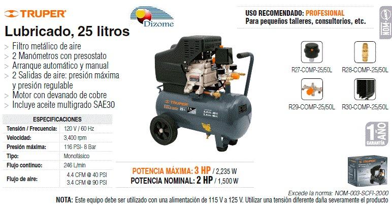 Compresor lubricado 25 litros 2 hp prof truper dizome - Compresor de aire 25 litros ...
